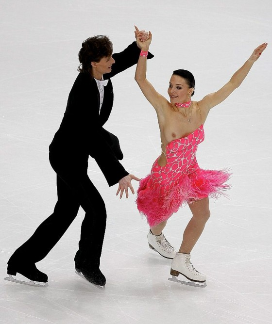 Rubleva of Russia loses her top as she performs with Shefer during the Ice Dancing Compulsory Dance at the European Figure Skating Championships in Helsinki