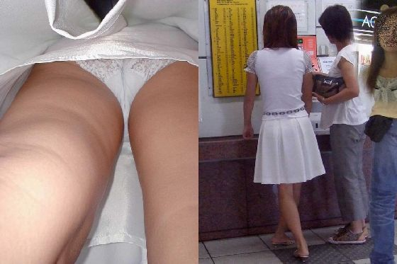 【盗撮】街角でパンツが透け透けの白のスカートを履いてる素人のお姉さんの盗撮画像まとめwwwww